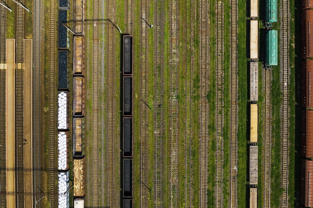 Aerial photography of railway tracks and cars.top view of cars and railways.minsk.belarus.