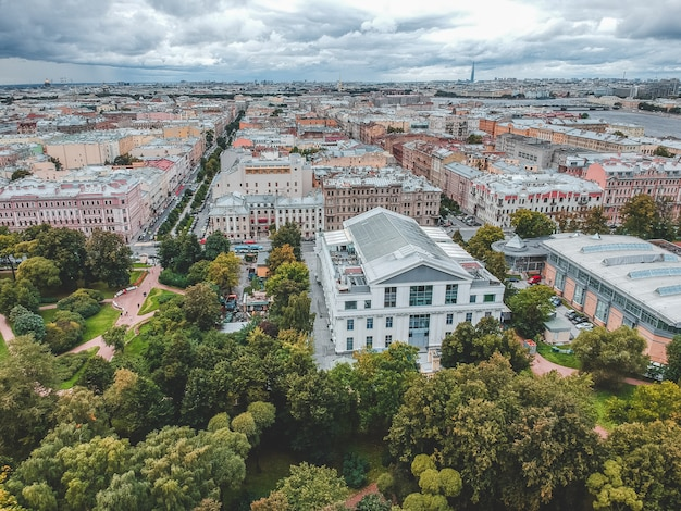 Aerial photography of residential buildings in the park, city center, old buildings, st. petersburg, russia.