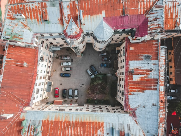 Aerial photography of roofs, residential buildings, flatley, st. petersburg, russia.