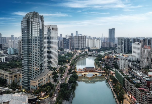 Aerial photography sichuan chengdu city architecture landscape skyline