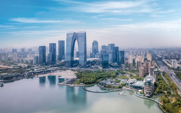 Aerial photography of suzhou jinji lake cbd urban buildings