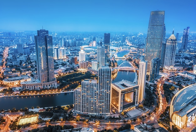 Aerial photography of tianjin city scenery at night