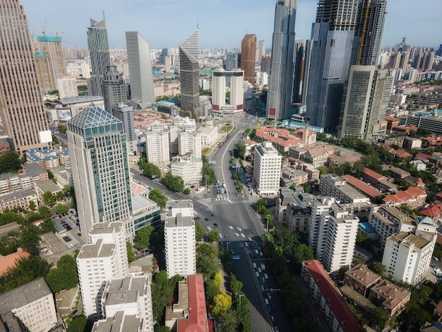 Aerial photography of tianjin urban architectural landscape