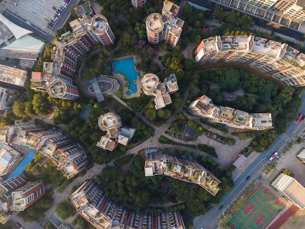 Aerial photography of urban architectural landscape along the pearl river in guangzhou