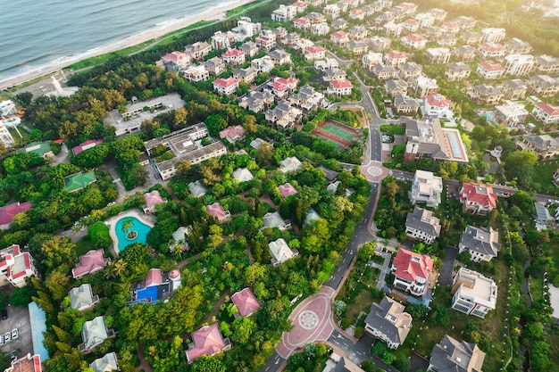 Aerial photography villa complex luxury resort