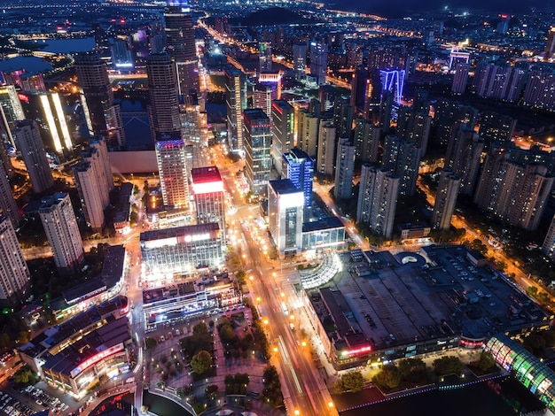 Aerial photography of xuzhou downtown city buildings at night