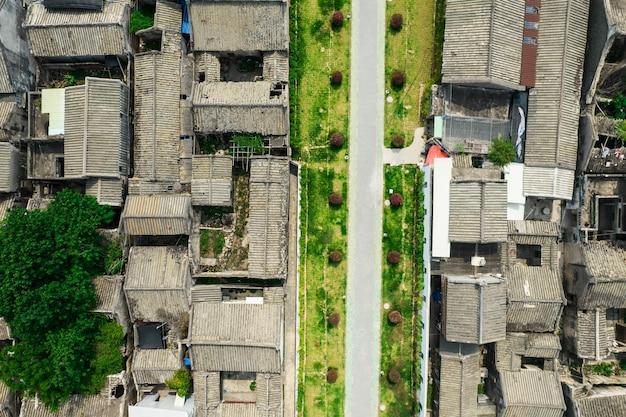 中国の潮州古代の町の航空写真