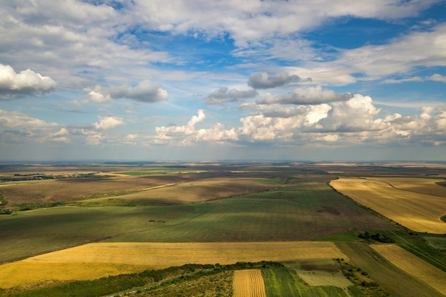 Aerial rural landscape with yellow patched agriculture fields and blue sky with white clouds.