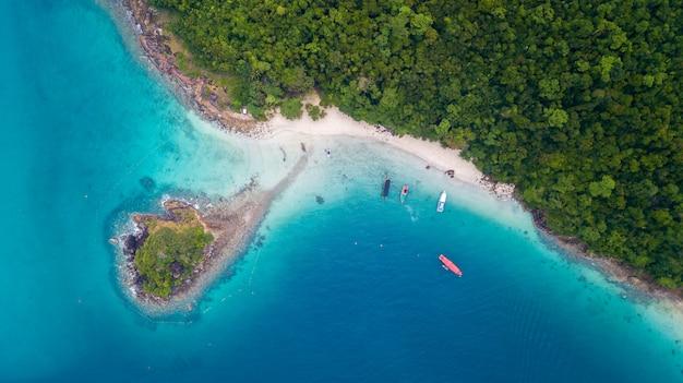 Aerial of san chao beach at koh rang in koh chang national park