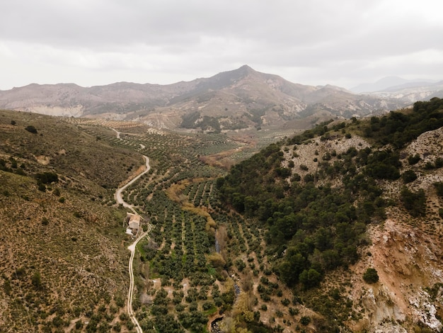 山々の空中風景 無料写真