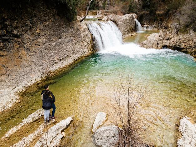 Вид с воздуха на водопад