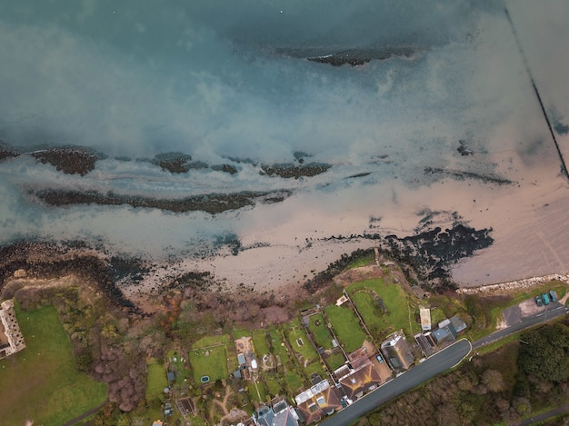 Aerial shot of the area of the sandsfoot beach, weymouth, dorset taken with a drone