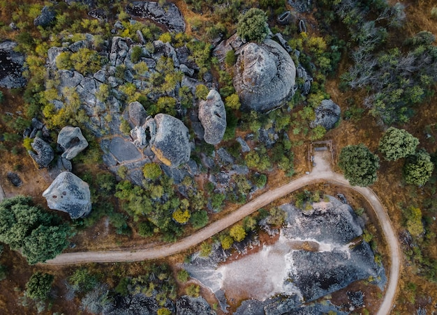 Aerial shot of a beautiful landscape in extremadura, spain