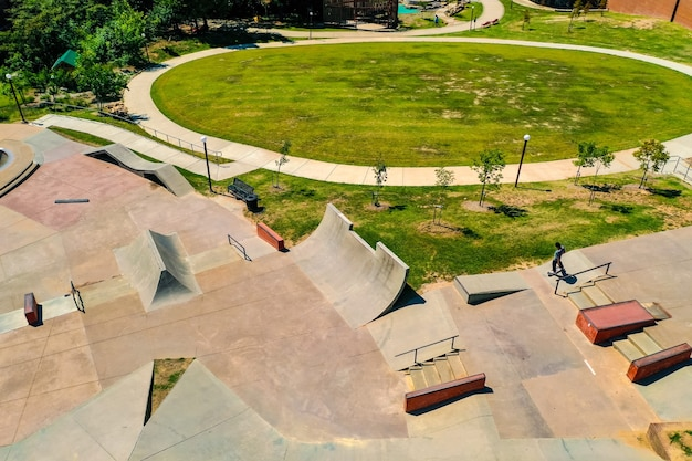Aerial shot of a beautiful skatepark during daytime