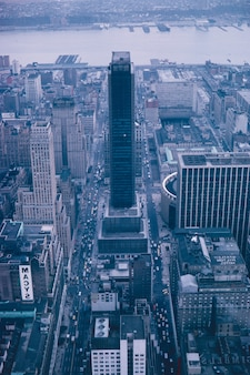 Aerial shot of a beautiful skyscraper in new york city - great for wallpapers