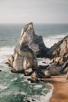 Aerial shot of  cabo da roca colares on a stormy weather