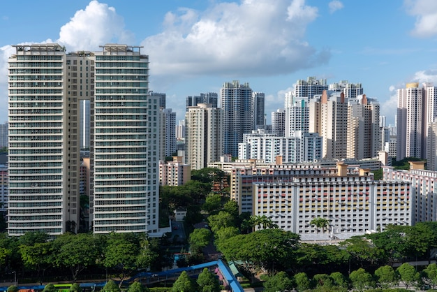 Aerial shot of city buildings in toa payoh singapore under a blue sky