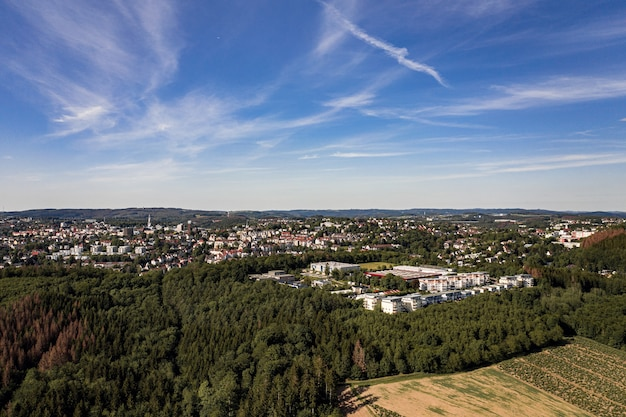 Aerial shot of a cityscape in a landscape covered with trees