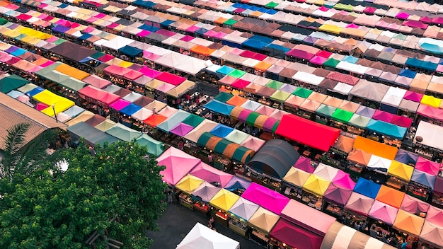 Aerial shot of colorful market tents