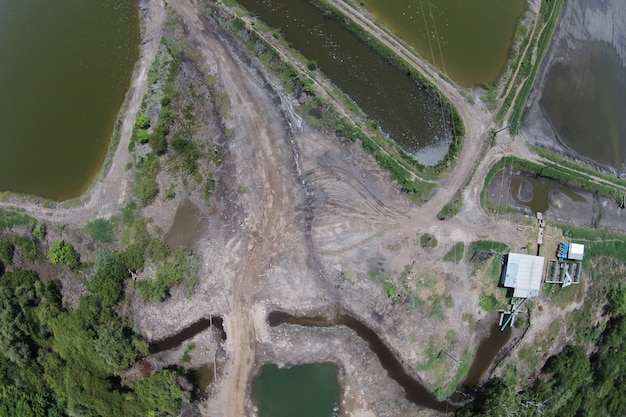 Aerial shot of a dirty polluted lake