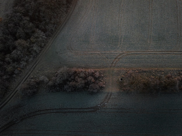 Aerial shot of a farm field with tracks