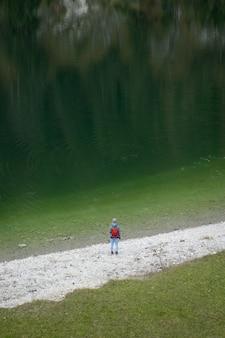 Ripresa aerea di una donna in piedi vicino al lago sylvenstein in germania