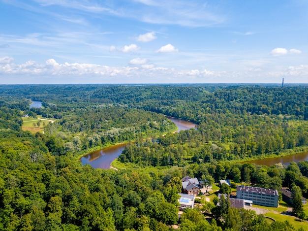 Aerial shot of gauja river in sigulda, latvia