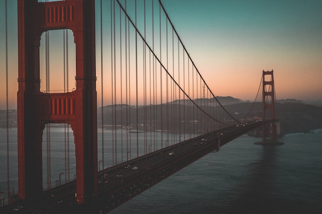 Aerial shot of the golden gate bridge during a beautiful sunset