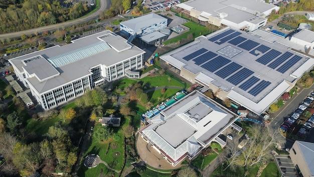 Aerial shot of industrial buildings in bristol, england