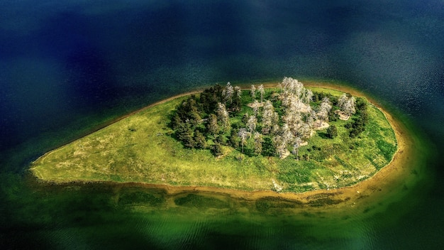 Aerial shot of an island surrounded by water