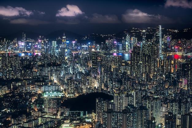 Aerial shot of kong in hong kong at night