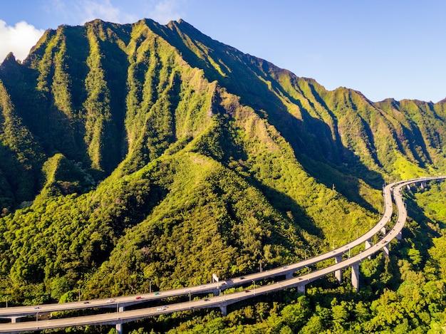 Aerial shot of kualoa ranch in oahu, hawaii