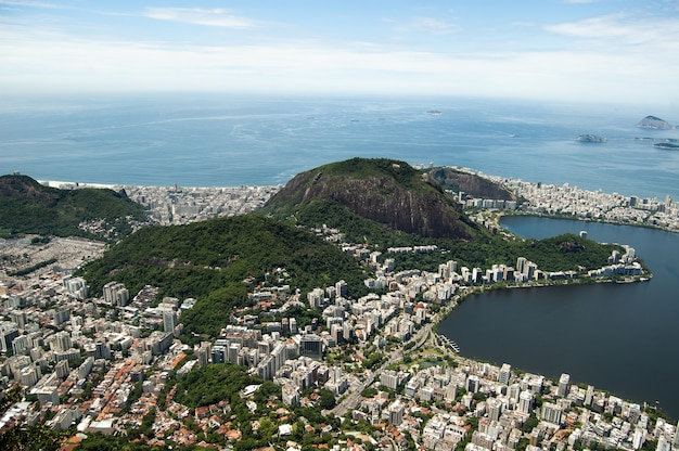 Aerial shot of lagoa in rio de janeiro, brazil