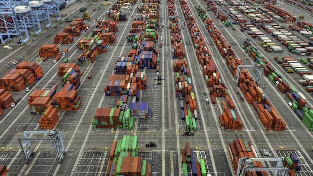 Aerial shot of large shipping containers area