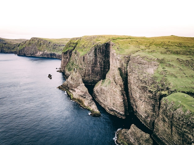 Aerial shot of ocean and coast with huge cliffs and green field