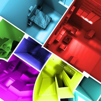 Аэрофотоснимок 3d-рендеринга квартиры без крыши с комнатами в разных ярких тонах
