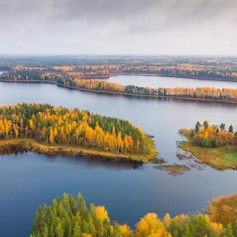 ベラルーシの自然保護区シンシャの秋の森と湖の空中ショット