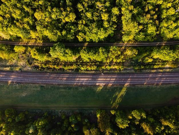 독일의 햇빛 아래 숲으로 둘러싸인 철도 트랙의 공중 촬영