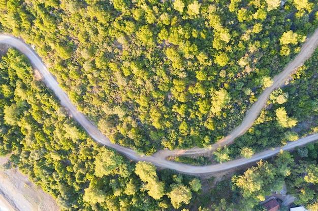 トルコ、マルマリス ボンチュク湾の道路と森の空中ショット