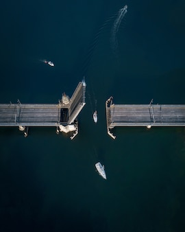 Aerial shot of an opening bridge