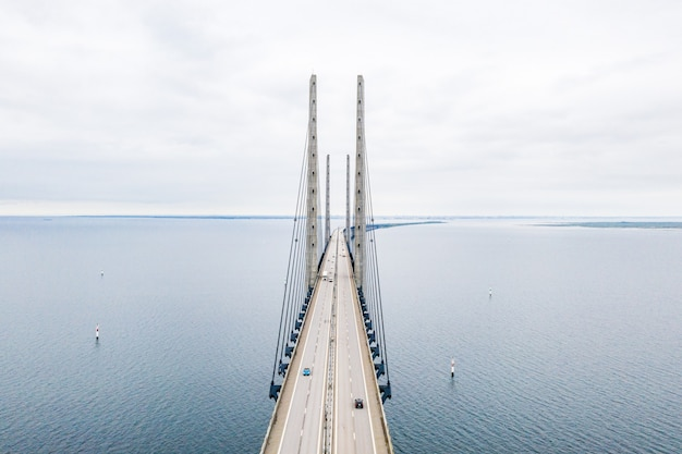 Aerial shot of the oresundsbron bridge between denmark and sweden Free Photo