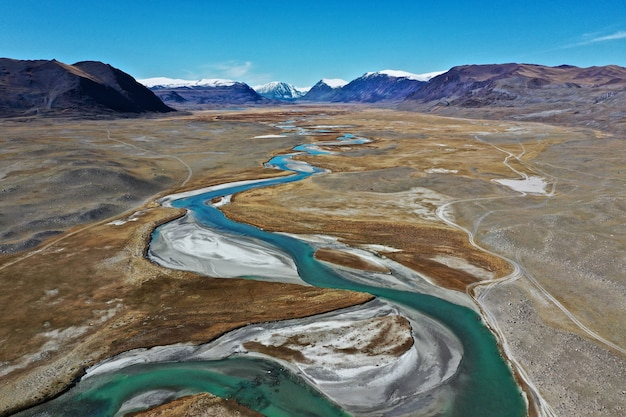 Aerial shot of orkhon river in mongolia