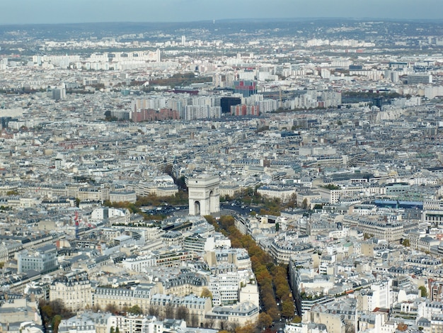Aerial shot of paris with modern high rise buildings and exceptional ancient architecture