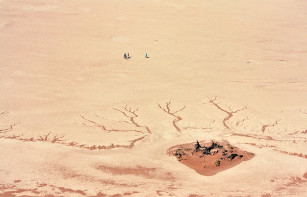 Aerial shot of people standing near the cracked desert ground at daytime