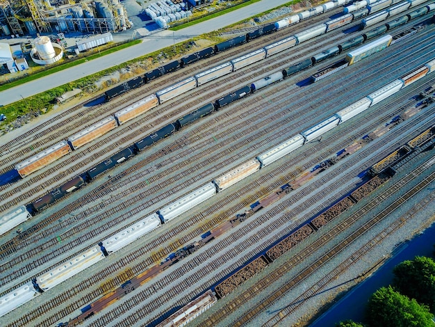 Aerial shot of railroad tracks and cars
