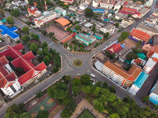 Aerial shot of road roundabout in the city
