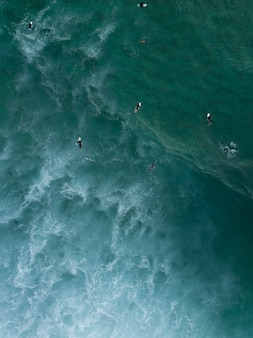 Aerial shot of surfers swimming laying on their boards in the sea waiting for strong waves to come