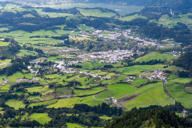 Aerial shot of the town of furnas