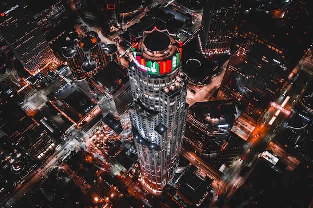 Aerial shot of the u.s. bank tower in los angeles