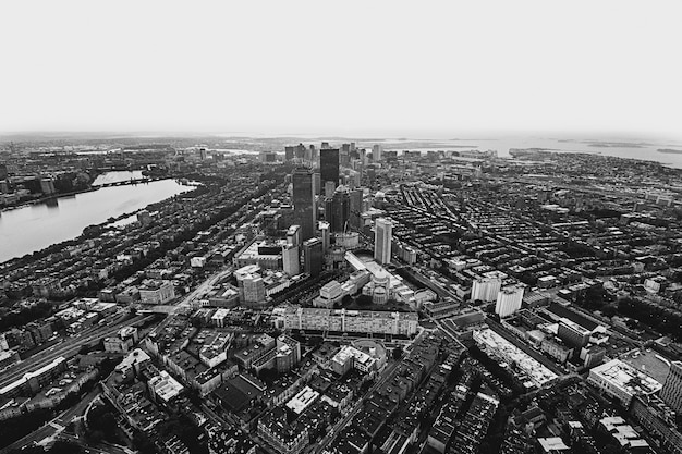 Aerial shot of an urban city in black and white
